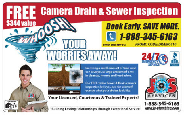 FREE VIDEO CAMERA DRAIN INSPECTION