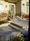 Front landscaping design, stonework and interlocking