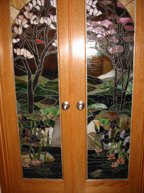 photo of 2 sets stained glass french doors from a Stained Glass By Carl review