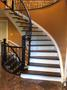 Two Tone Stair Case with Dark Stain & Iron Pickets Bottom 1.JPG