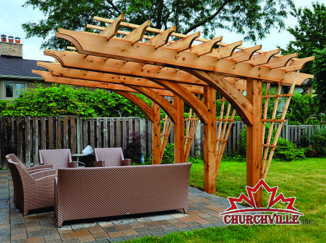 churchville cantilever pergola made with 8x8 western red cedar arched Quotes
