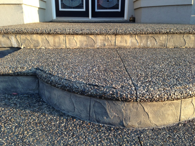 Our Work Was Exposed Aggregate With Bullnose For Our Front Porch And Steps,  Exposed Aggregate With Stamped Border For Our Driveway And Stamped Concrete  For ...