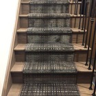 Pet-friendly, durable, serged custom staircase runner. Photo & Design courtesy of Lisa at decoreista.com in Toronto, Ontario
