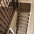 Trellis Patterned Custom Staircase Runner & Wire-Scraped Maple Hardwood